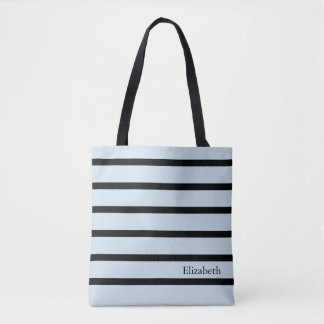 Personalized  Striped Tote Bag