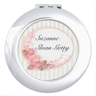Personalized Stripes and Flowers Travel Mirror