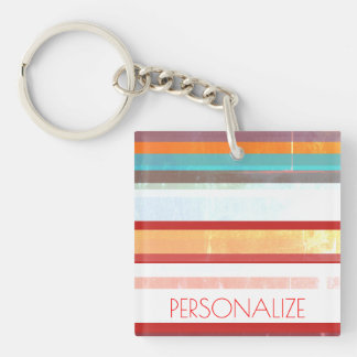 Personalized Stripes Keychain