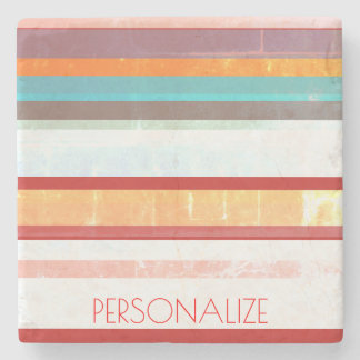 Personalized Stripes Stone Coaster