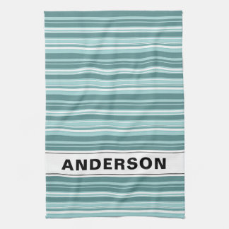 Personalized Stripes - Teal Green Blue Kitchen Towel