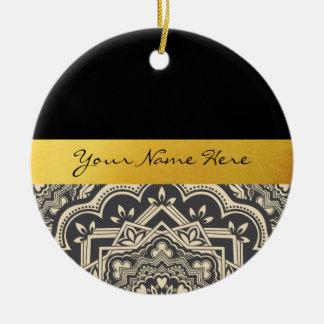Personalized Stylish Black & Gold Mandala Ceramic Ornament