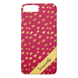 Personalized Stylish Red and Gold Confetti iPhone 7 Plus Case