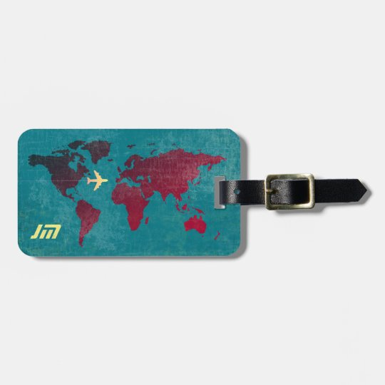 personalized & stylish, world map air travel luggage tag