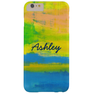 Personalized Stylish Yellow Blue Coral Barely There iPhone 6 Plus Case
