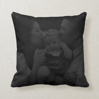 Personalized Subtle Black Photo Throw Pillow