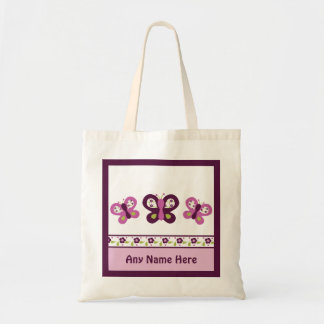 Personalized Sugar Plum Butterfly Tote Bag
