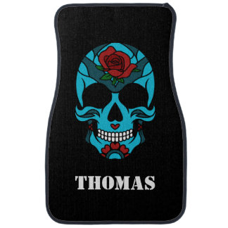 Personalized Sugar Skull Teal Red Rose Car Mat