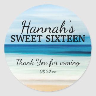 Personalized Summer Beach Sweet 16 Thank You Classic Round Sticker