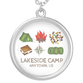 Personalized Summer Camp Camper Camping Necklace