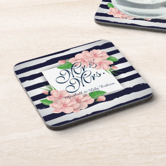 Personalized Summer Floral Wedding | Coaster
