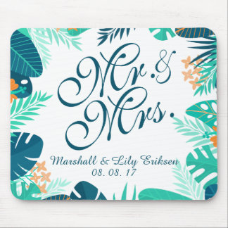 Personalized Summer Floral Wedding | Mousepad