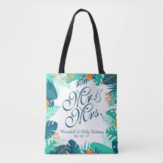 Personalized Summer Floral Wedding Tote Bag