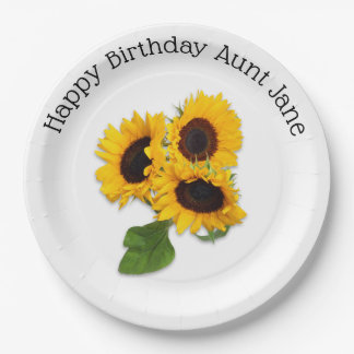 Personalized Sunflower Birthday Party Paper Plates