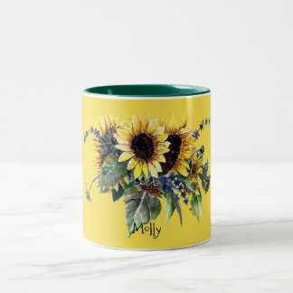 Personalized Sunflower Bouquet on Yellow Two-Tone Coffee Mug