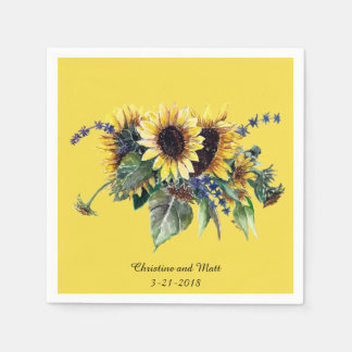 Personalized Sunflower Bouquet Paper Napkins
