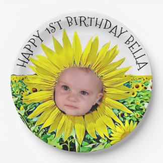 Personalized Sunflower First Birthday Plates