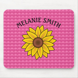 Personalized Sunflower on Pink Hearts Mousepad