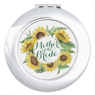 Personalized Sunflower Wedding Compact Mirror
