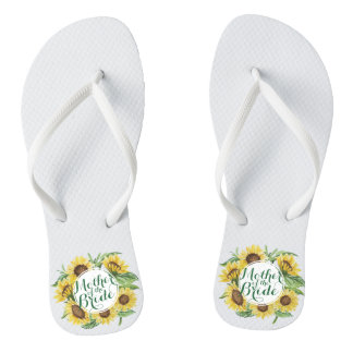 Personalized Sunflower Wreath Wedding Flip Flops