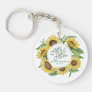 Personalized Sunflower Wreath Wedding Keychain