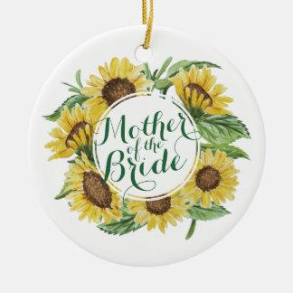 Personalized Sunflower Wreath Wedding   Ornament