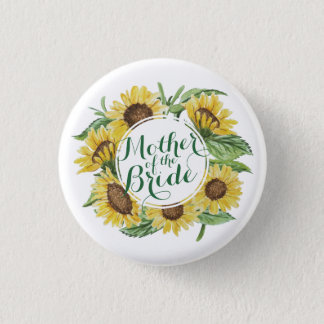 Personalized Sunflower Wreath Wedding Pin Button