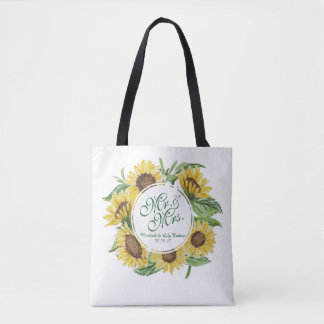 Personalized Sunflower Wreath Wedding Tote Bag