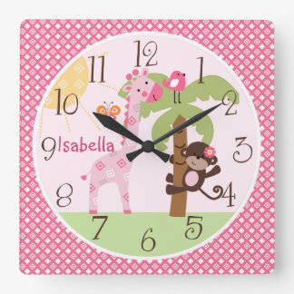 Personalized Sunny Monkey & Giraffe Nursery Clock
