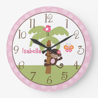 Personalized Sunny Safari Monkey Nursery Clock