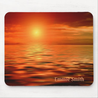 Personalized Sunset Over the Ocean Mousepad
