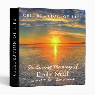 Personalized Sunset Sea Celebration of Life Binder