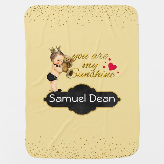 Personalized Sunshine Song   Prince Nursery Throw Receiving Blankets