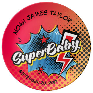 Personalized SuperBABY keepsake plate, superhero Porcelain Plate