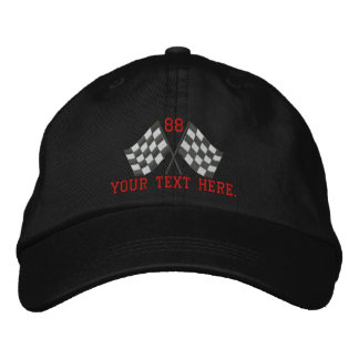 Personalized Supercharged Racing Flags Embroidery Baseball Cap