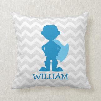 Personalized Superhero Boy Blue Silhouette on Gray Throw Pillow