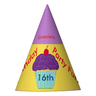 Personalized Sweet 16 Birthday Hat Purple Cupcake