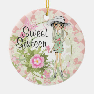 Personalized Sweet 16 Blond Girl Flowers Christmas Ceramic Ornament