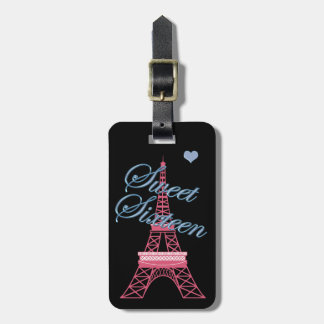 Personalized  Sweet 16 Eiffel Tower Luggage Tag