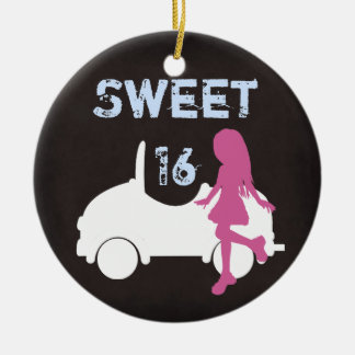 Personalized Sweet 16 Girl and Car ~ Pink, Blue Round Ceramic Ornament