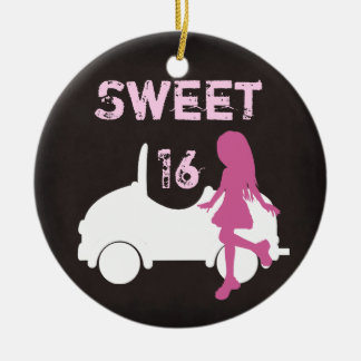 Personalized Sweet 16 Girl and Car ~ Pink, Brown Round Ceramic Ornament