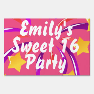 Personalized Sweet 16 Pink and Gold Stars Sign