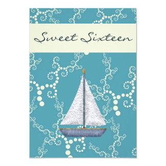 Personalized Sweet 16 Sailboat Birthday Invite