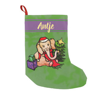 Personalized Sweet Cartoon Christmas Elephant Small Christmas Stocking