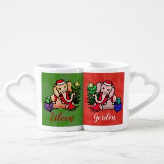 Personalized Sweet Cartoon Santa Xmas Elephant Coffee Mug Set