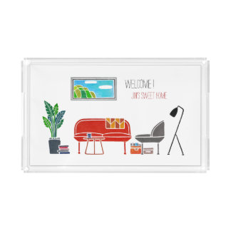 Personalized SWEET HOME Hand painting Serving tray