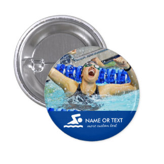 Personalized Swimming Photo Swimmer & Team Name 1 Inch Round Button