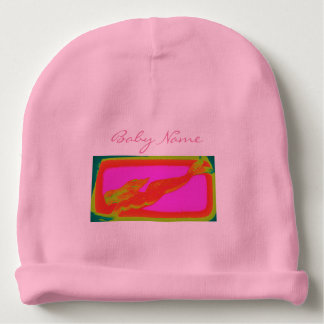 personalized swimming red mermaid baby beanie