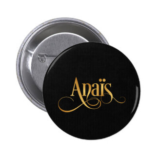 Personalized Swirly Script Anaïs Gold on Black 2 Inch Round Button