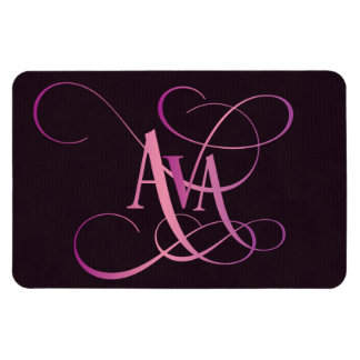 Personalized Swirly Script Ava Pink on Purple Magnet